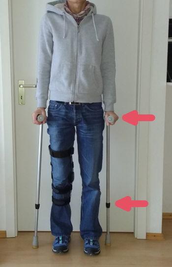 Krücken nach Knie-OP richtig einstellen