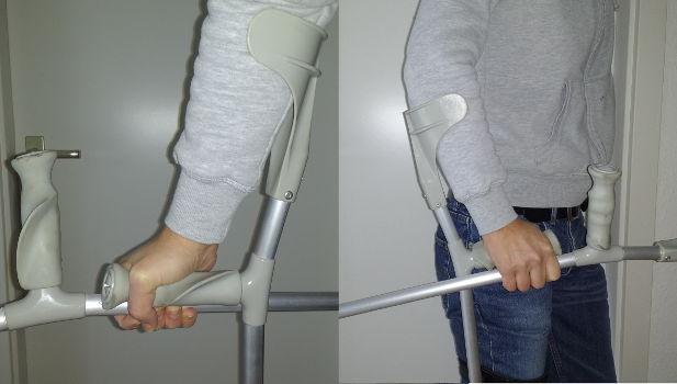 Treppensteigen mit Krücken ohne Geländer
